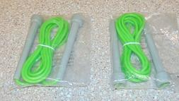 2 Green Plastic Jump Ropes Recreational 7.5 Ft. with 5 Inch