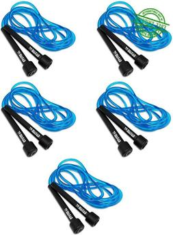 5 New! Skipping Jump Rope Lot Blue Ropes 9' Adjustable Pvc J