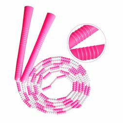 9' Beaded Adjustable Jump Skip Rope, Skipping Jumping Aerobi