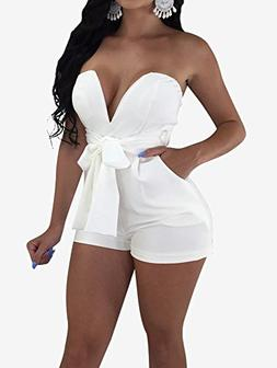 TOB Women's Sexy Deep V-Neck High Waist Belt Club Romper Sho