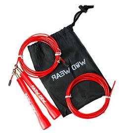 WOD Wear Adjustable Speed Cable Jump Rope, Red