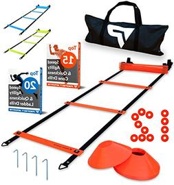 Pro Agility Ladder and Cones – 15 ft Fixed-Rung Speed Ladd