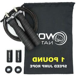 WOD Nation Atlas 1lbs Weighted Jump Rope. Black handles.
