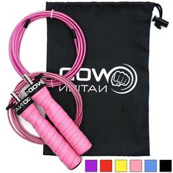 WOD Nation Attack Speed Jump Rope. Pink handles.