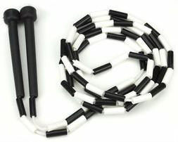 Black and White 7-foot Jump Rope with Plastic Segmentation b