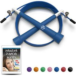 Blue Plastic Fitness Jumprope Adjustable 11 Foot Cable Carry