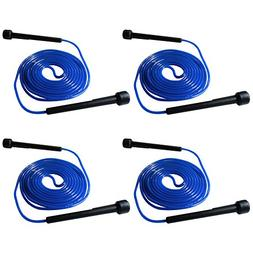 4 Pack Fenzer Blue 9 FT 2.7m Plastic Handle Jump Rope Speed