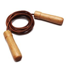 SODIAL Cowhide Skipping Speed Rope Adjustable Weighted Fitne