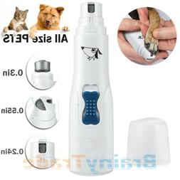 Electric Dog Cat Nail Grinder Trimmer Grooming Tool Clipper