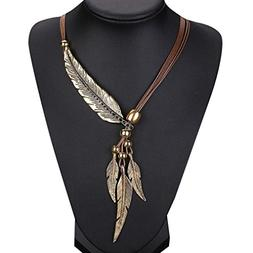 Botrong Feather Antique Vintage Time Necklace Sweater Chain