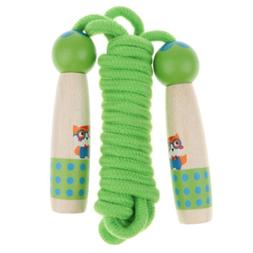 Green Wood Handle Jump Rope for Kids, Outdoor Fun Activity F