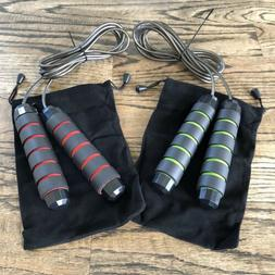 Jump Rope 2-Pack! Tangle-Free w/ Ball Bearing Speed Cable Me