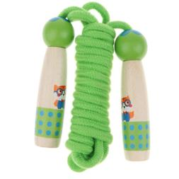 Jump Rope for Kids Adult - Green Wood Handle Skipping Rope F