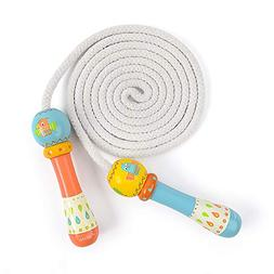 MiDeer Jump Rope Toy for Kids, Natural Wooden Handles and 10