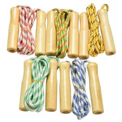 Kids Skipping Rope Wooden Handle Jump Play Sport Exercise Wo