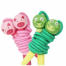 Kids Wooden Skipping Rope Animal Handle For Jump Skip Game M