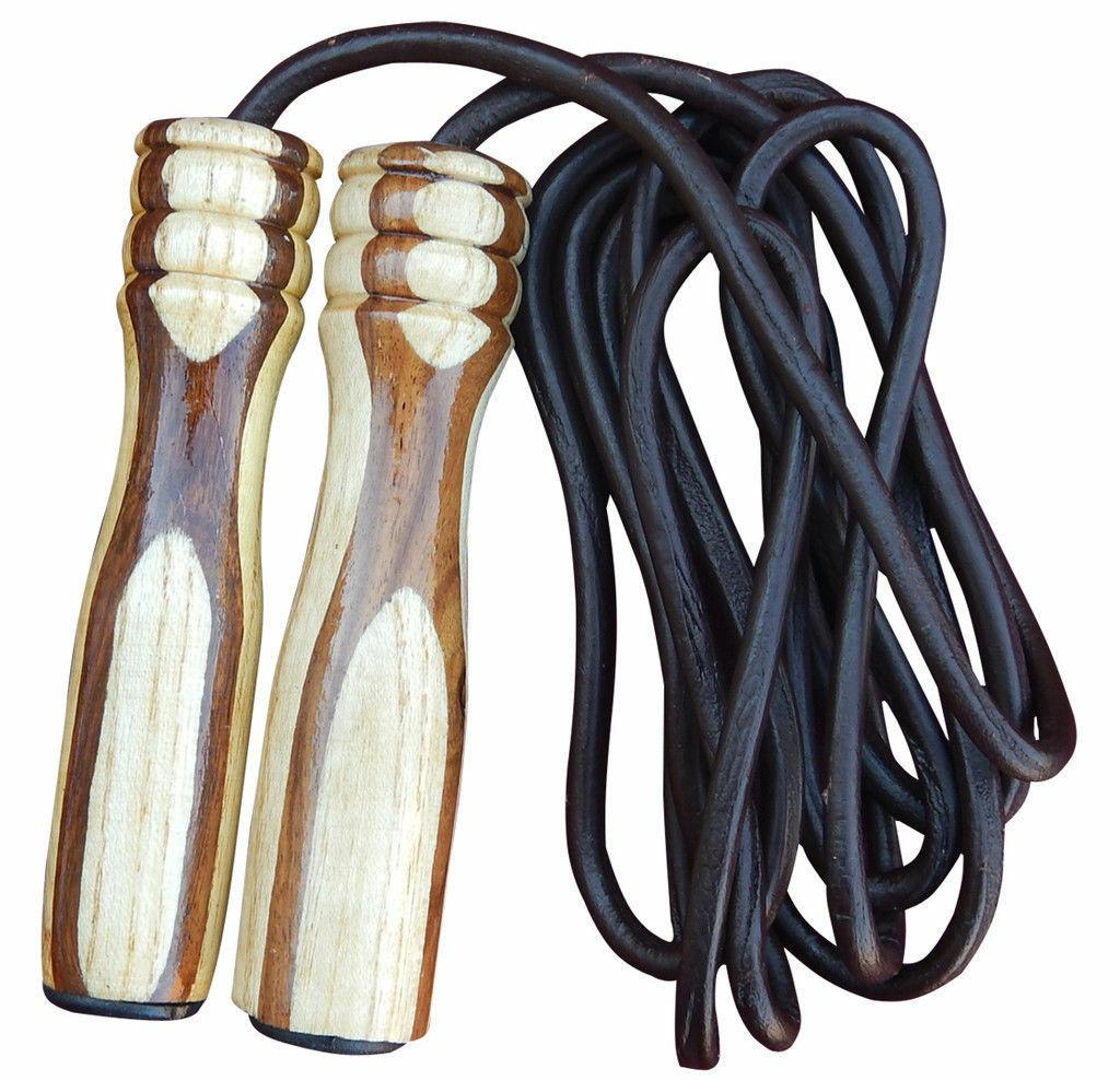 4Fit™ MAX Leather Skipping Rope Weight Wood Handle Exercis