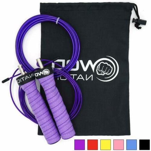 WOD Nation Attack Jump Rope Adjustable Jumping Unique Workout System Heavy 1 11' Perfect for Fits Men and
