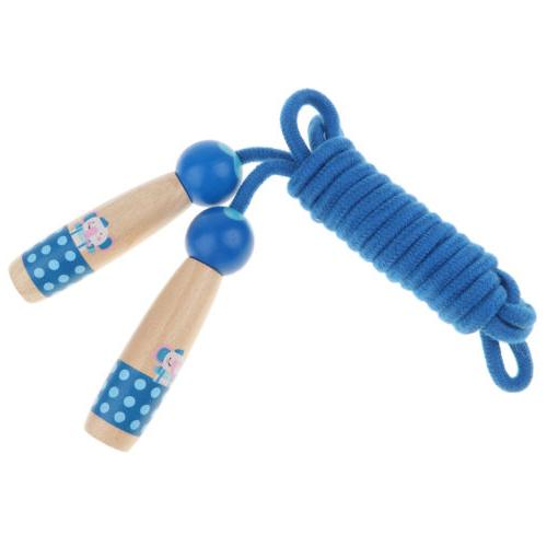 Blue Wood Handle Jump Rope for Kids, Outdoor Fun Activity Fi