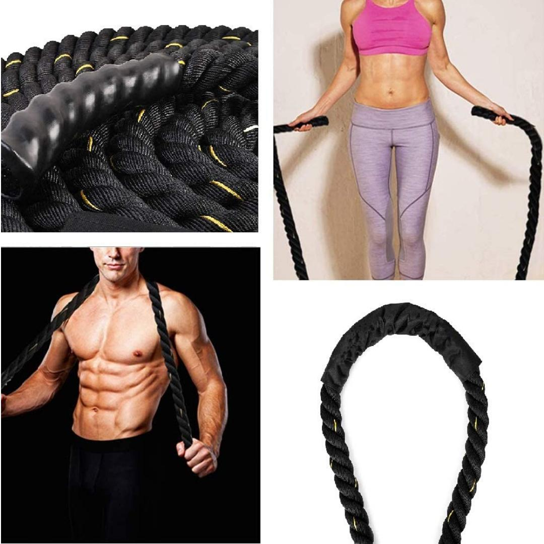 Fitness Jump Rope Skipping Battle Ropes Power Training with Gloves