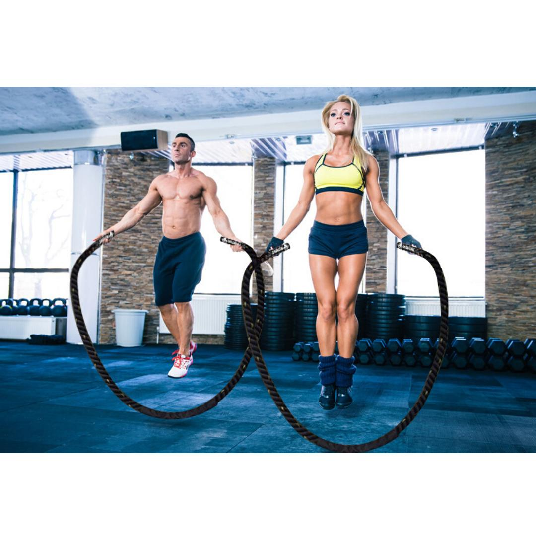 Fitness Heavy Jump Skipping Power Training with Gloves