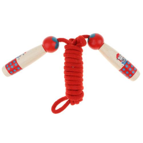 Red Wood Handle Jump Rope for Kids, Outdoor Fun Activity Fit
