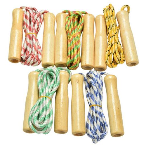 2.4M Kids Skipping Rope Wooden Handle Jump Play Sport Exercise Workout Toy
