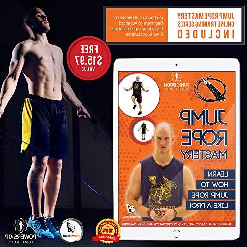 PowerSkip Jump Rope Memory Handles & Weighted Cable Best Fitness Skipping, MMA and