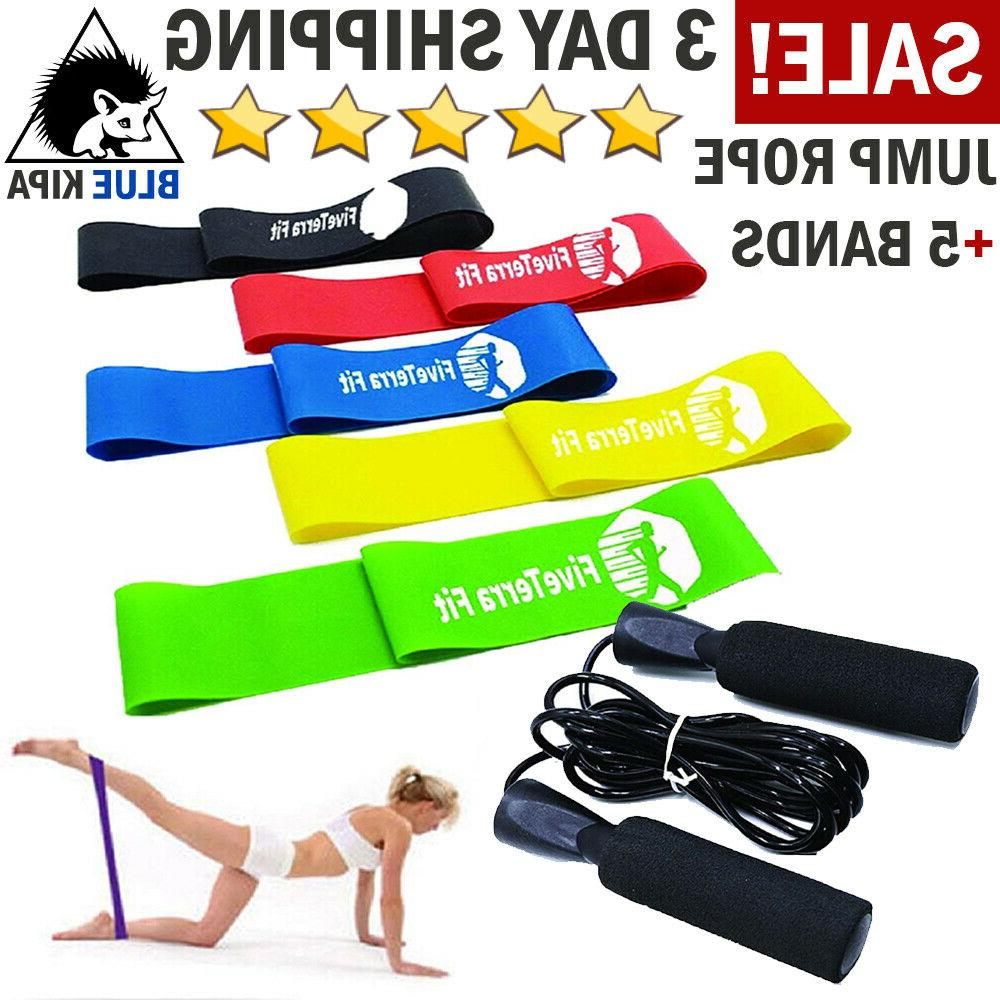 Resistance Loop Exercise Bands with Jump Rope Speed Skipping