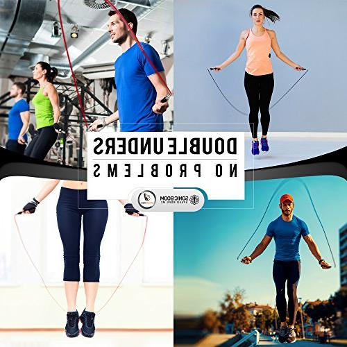 Sonic Boom M2 Speed Jump Rope Patent Design Weighted, 360 Degree Spin, with Rope Cables for Workout, &