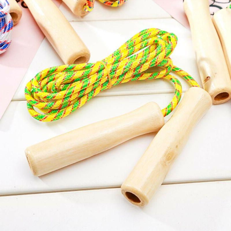 Wooden Handle Jump Ropes Sports Body Building Fitness Equipm