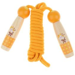 Orange Wood Handle Jump Rope for Kids Outdoor Fun Activity F