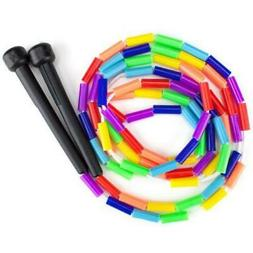 K-Roo Sports Rainbow 7-Feet Jump Rope with Plastic Beaded Se