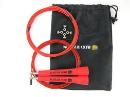 Red WOD Nation Speed Jump Rope - Perfect Skipping Rope for C