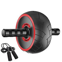 LiKee Ultra-Wide Ab Wheel Roller with Knee Pad and Jump Rope