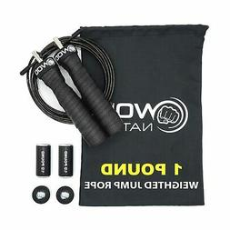 WOD Nation Weighted Jump Rope for Women & Men - 1 Pound Adju