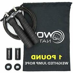 WOD Nation Weighted Jump Rope for Women & Men - 1 Pound  Adj