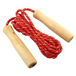 uxcell 2M Length Wooden Handle Red Fitness Exercise Jumping